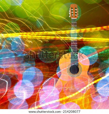 Acoustic guitar lights abstract festive background - stock photo