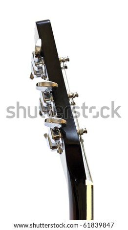 acoustic guitar on neutral background - stock photo