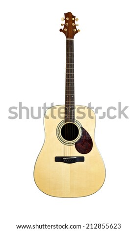 Acoustic Guitar on white background - stock photo