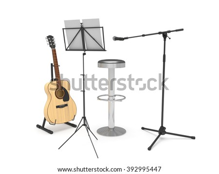 Acoustic guitar, stool, music stand and microphone. Isolated on white background. - stock photo