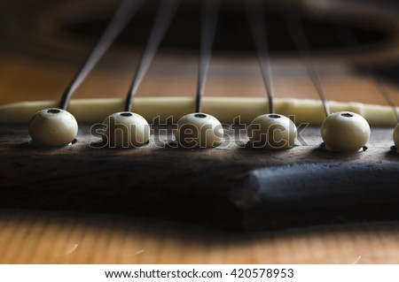 Acoustic Guitar string pegs - stock photo