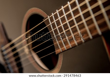 Acoustic guitar. Strings. background - stock photo