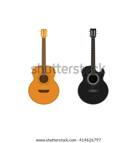 Acoustic guitars set isolated on white background, classic guitar illustration, classical black and wooden guitars flat style icon, cartoon design image - stock photo