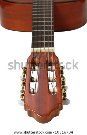 Acoustic six-string guitar - stock photo