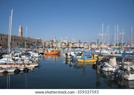 Acre, Akko, old city and marina - stock photo