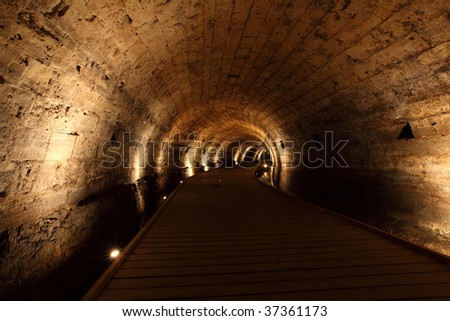 Acre knight templer tunnel, Israel - stock photo