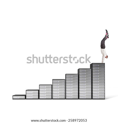 acrobat businessman on server 3d stair - stock photo