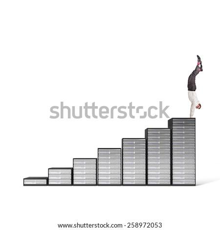 acrobat businessman on server 3d stair - stock photo