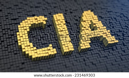 Acronym 'CIA' of the yellow square pixels on a black matrix background. Big brother is watching you - stock photo