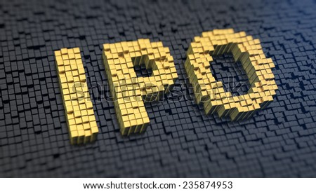 Acronym 'IPO' of the yellow square pixels on a black matrix background. First stock issue concept. - stock photo