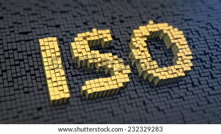 Acronym 'ISO' of the yellow square pixels on a black matrix background. Industry standards or light sensitivity concept. - stock photo