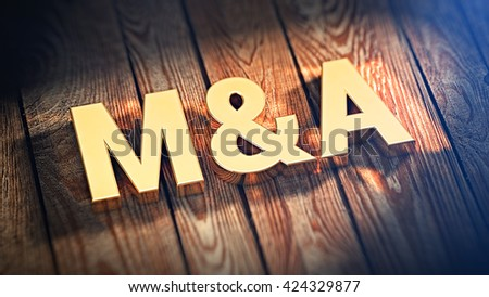 """Acronym """"M&A"""" is lined with gold letters on wooden planks. 3D illustration image - stock photo"""