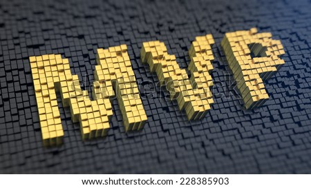 Acronym 'MVP' of the yellow square pixels on a black matrix background. Product theory for startups - stock photo