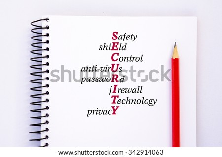 Acronym SECURITY - Safety, Shield, Control, Anti-virus, Password, firewall, technology, privacy. Concept - stock photo
