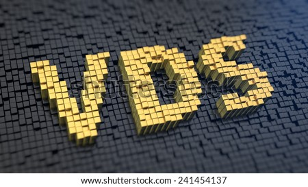 Acronym 'VDS' of the yellow square pixels on a black matrix background. Dedicated server concept. - stock photo