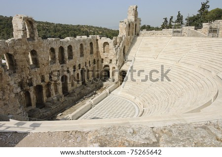 Acropolis Odeon, amphitheater ruins,  built ca. 161 BC, by Herodes Atticus, Athens, Greece - stock photo