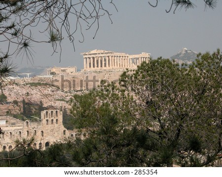 Acropolis of Athens,   Greece, from Philopappou Hill. - stock photo