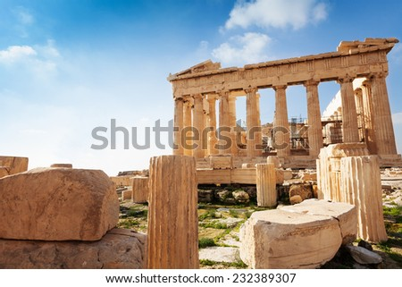 Acropolis of Athens in Greece during summer - stock photo