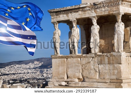 Acropolis with flag of Greece and flag of European Union in Athens, Greece - stock photo
