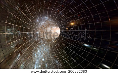 Across the universe. Traveling in space. Time travel. Elements of this image furnished by NASA. - stock photo