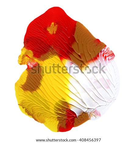 Acryic design element,hand painted,red and yellow colors - stock photo