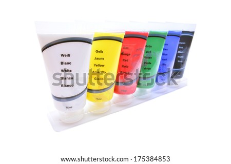 acryl paint tubes   - stock photo
