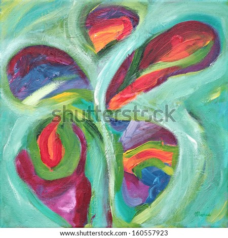 Acrylic abstract painting on canvas. - stock photo