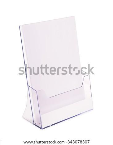 Acrylic brochure holder isolated on white - stock photo