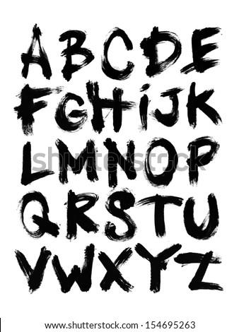 Acrylic Brush Alphabet 1 Stock Photo