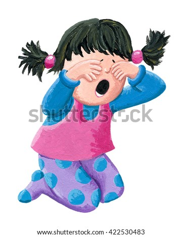 Acrylic Illustration of a little girl crying on a white background - stock photo