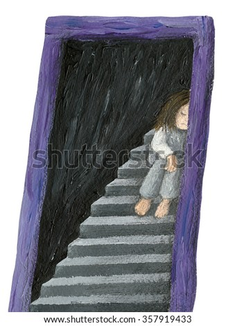 Acrylic illustration of alone girl - artistic content - stock photo
