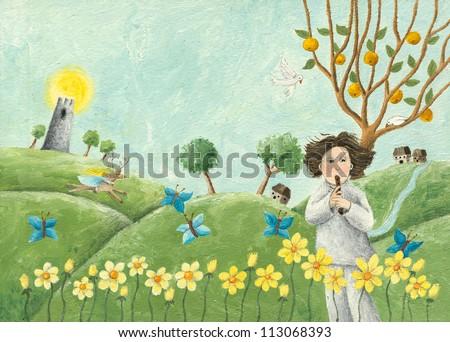 Acrylic illustration of boy playing pipe - stock photo