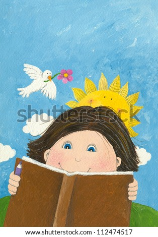 Acrylic illustration of boy reading book in the park - stock photo