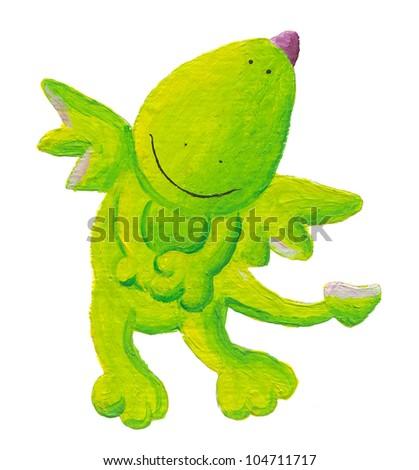 Acrylic illustration of charming little dragon - stock photo