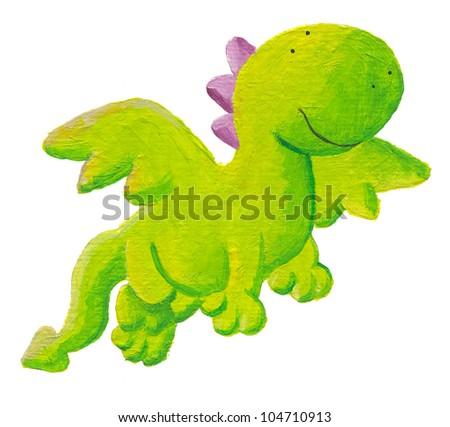Acrylic illustration of cute dragon flying forward - stock photo