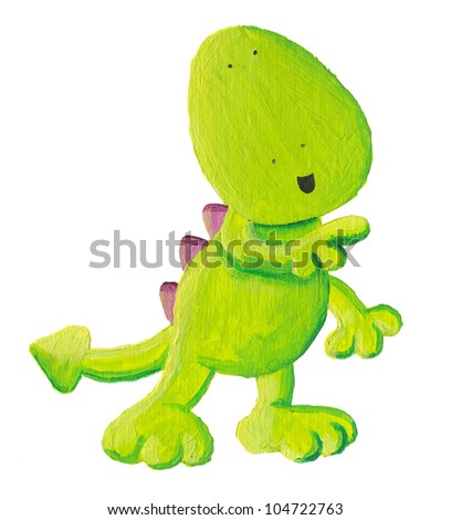 Acrylic illustration of cute dragon shows the direction - stock photo