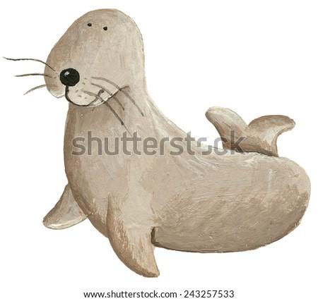 Acrylic illustration of cute sea lion - stock photo