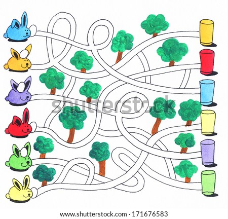 Acrylic illustration of Easter maze game or activity page for kids: Bunnies and eggs - stock photo