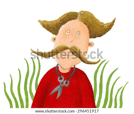 Acrylic illustration of funny man with big mustache and  scissors - artistic content - stock photo