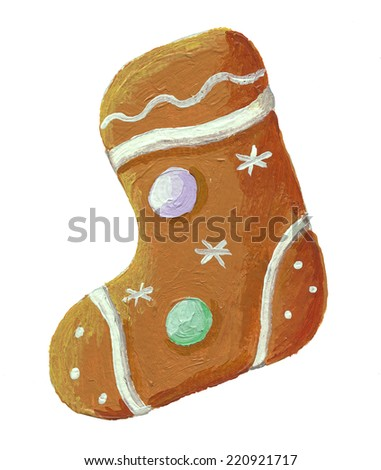 Acrylic illustration of gingerbread christmas cookie boot shaped - stock photo