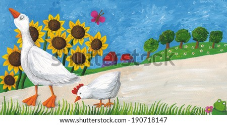 Acrylic illustration of goose with hen on village way - stock photo