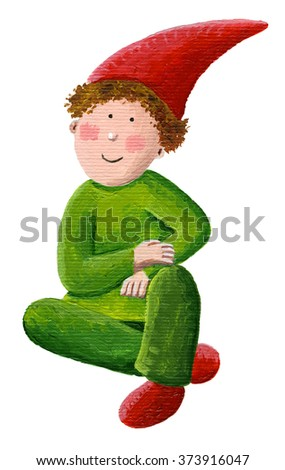 Acrylic illustration of little cute dwarf - art content - stock photo