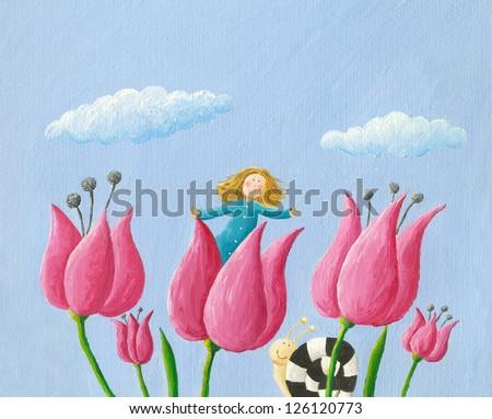 Acrylic illustration of Little girl Thumbelina girl in the tulip - stock photo