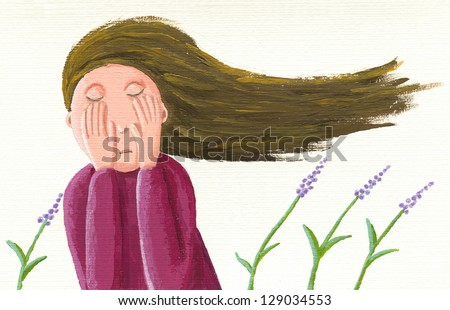 Acrylic illustration of sad girl - stock photo