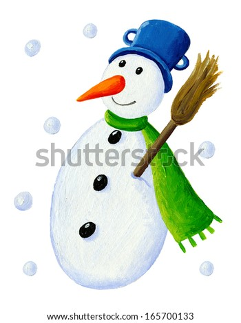Acrylic illustration of snowman with broom - stock photo