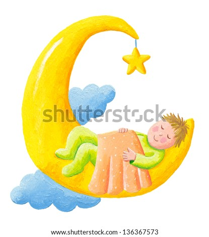 Acrylic illustration of the baby sleeps on the moon isolated - stock photo