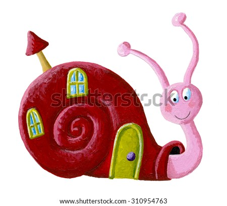 Acrylic illustration of the funny snail with window and door on a shell - artistic content - stock photo