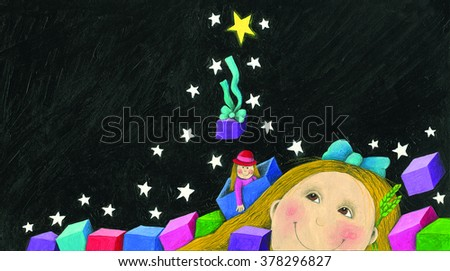 Acrylic illustration of the happy little girl in the night with gift boxes and doll - artistic content - stock photo