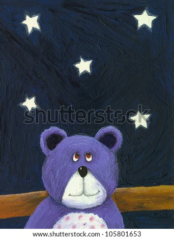 Acrylic illustration of the purple bear in the starry night - stock photo
