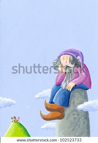 Acrylic Illustration of Worried giant - stock photo